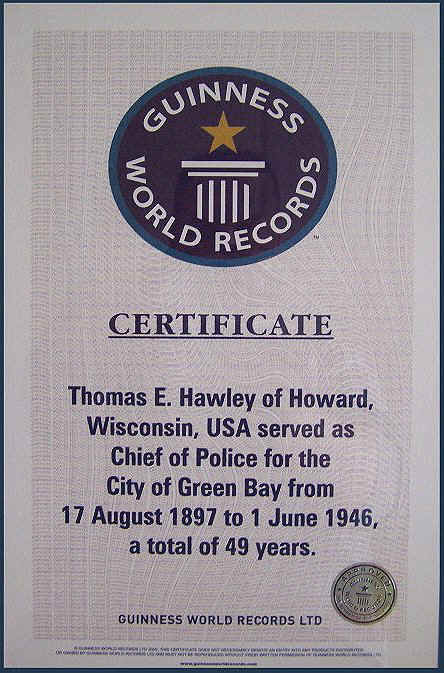Thomas E. Hawley Green Bay Chief of Police Certificate